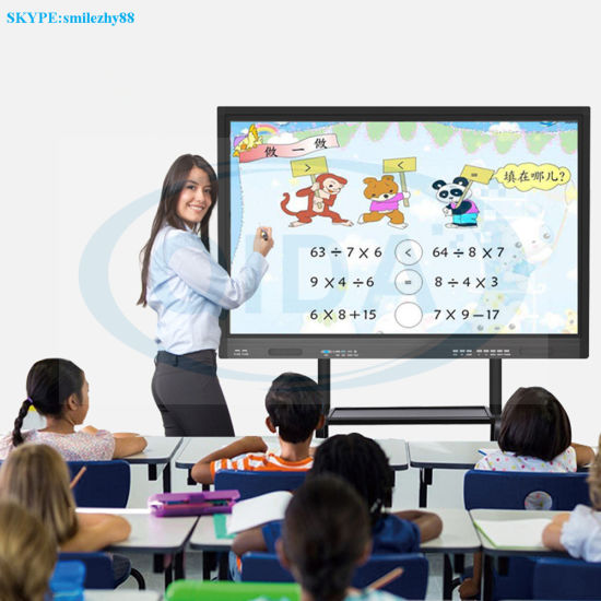 55, 65, 75, 85, 98-Inch LCD Advertising Display Digital Signage Interactive Whiteboard with OPS PC Built-in Interactive Touchscreen Kiosk for School Mall Hotel