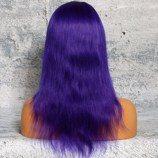 Factory Sales Promotion Halloween 100 Virgin Human Hair Straight Purple Hair Full Lace Wig pictures & photos