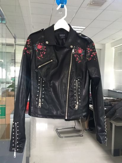 Women's 100%PU with Embroidery and Rivets Woven Jacket