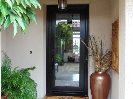 China Square Top Wrought Iron Single Exterior Door For Sale China