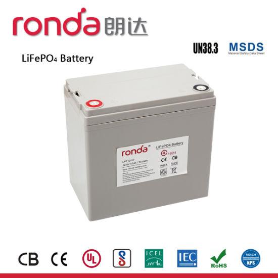 12V 57ah Solar Power LiFePO4 Battery for Traffic Signal System (CB, UN38.3, ISO14001)
