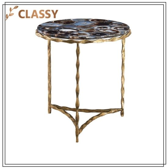 Black Agate Top Golden Stainless Steel Frame Furniture Side Table