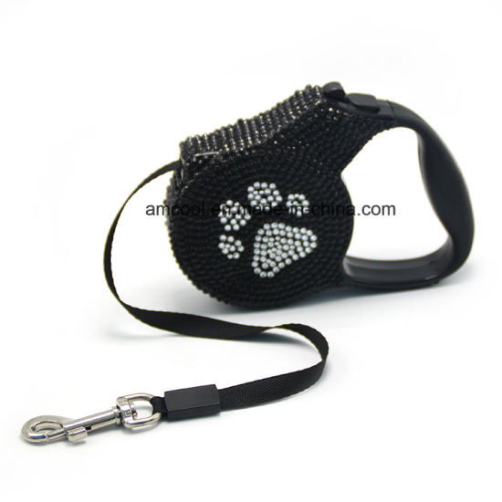 Retractable Dog Lead with Rhinestone Pet Product Pet Supply