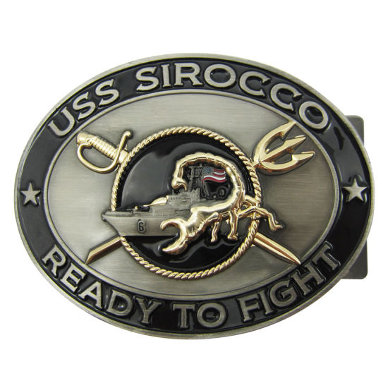 Promotional Custom Fashion Accessories Uss Sirocco Reday to Fight Metal Belt Buckle with Enamel (009)