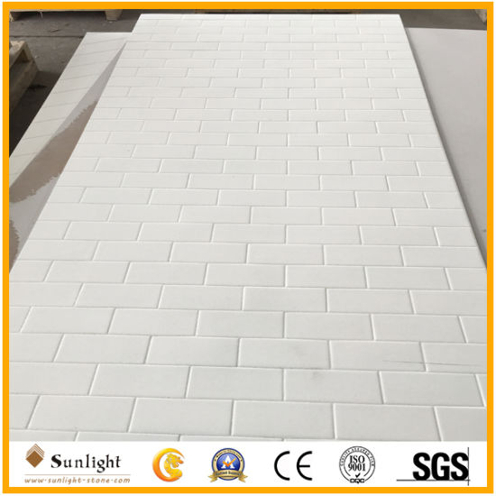 China White Culture Marble 7mm Culture Stone Solid Surface Shower ...