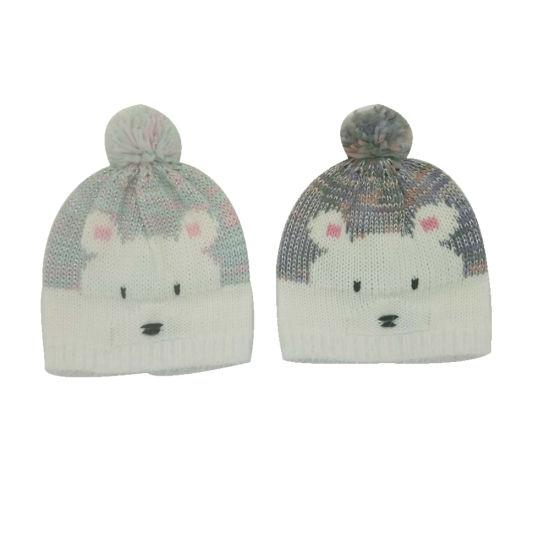 5b9630dd Children Winter Fashion Warm Bear Jacquard Embroidery Lurexy Bobble Hat Cap