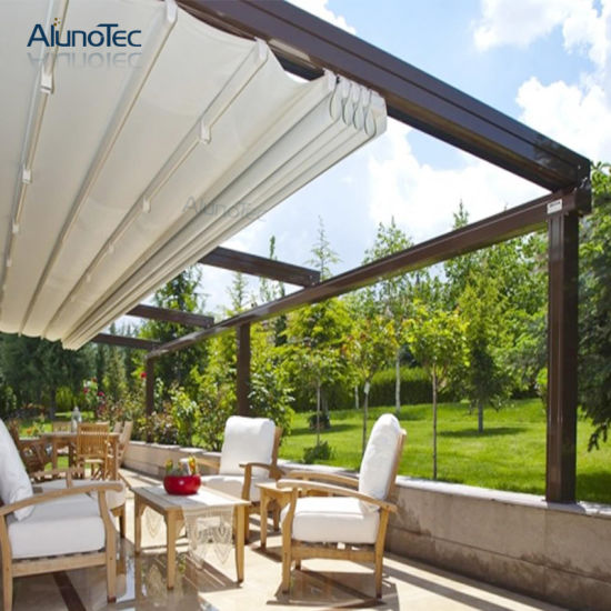 Beauty PVC Rainproof Motorized Aluminium Retractable Awning with LED or Side Screen