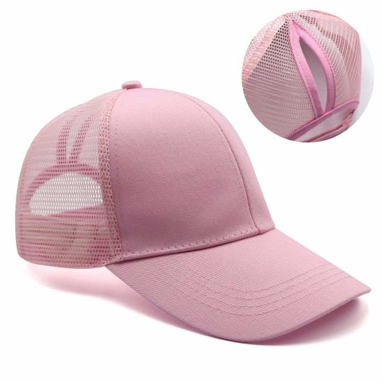 Sedex Audit Custom 100% Cotton Adjustable Baseball Cap Mesh Pony Tail Hat for Women pictures & photos
