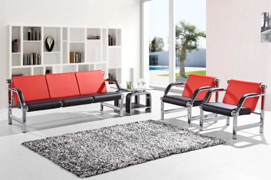 Office Public Area Waiting Metal Leather Combination Sofa A02 pictures & photos