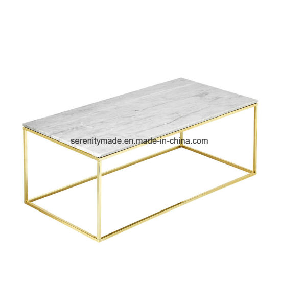 Enticing Design Luxury Featuring Gold Color Metal Frame White Marble Top  Coffee Table