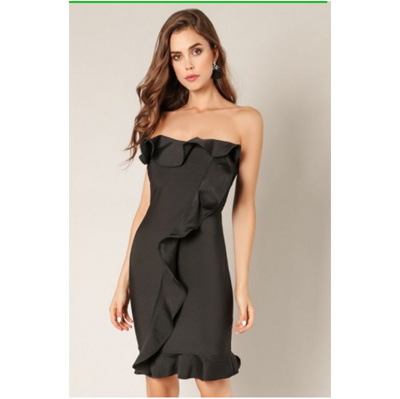Black Ruffles Strapless Slim Fit Party Dress Prom Dress Celebration Bandage Dress