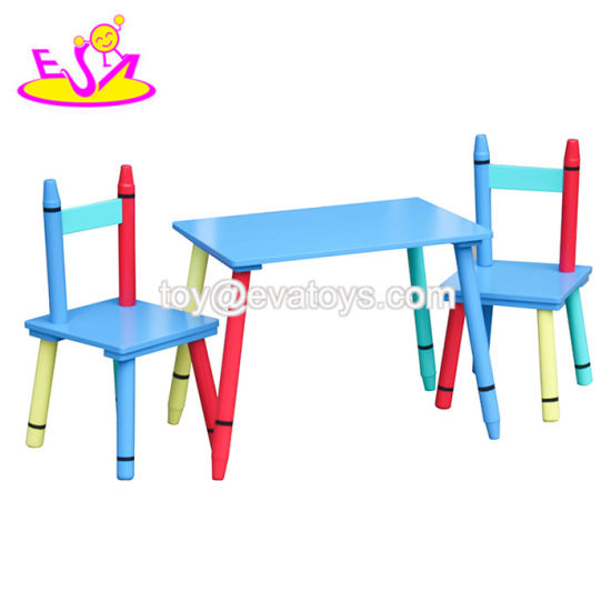 Top Fashion Kids Wooden Crayon Table and Chairs with 2 Chairs W08g254