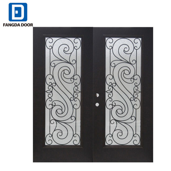 China Fangda Center Arch Lite Glass Double Exterior Steel Entry Main