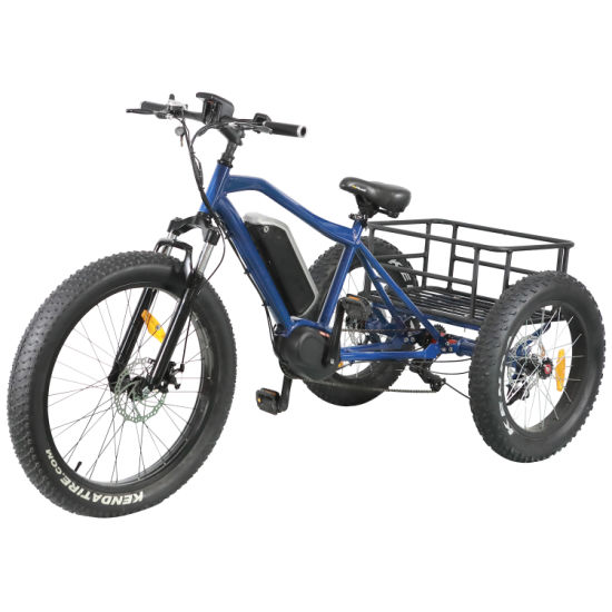 1000W MID-Drive Motor Mountain Electric Tricycle with Disc Brakes