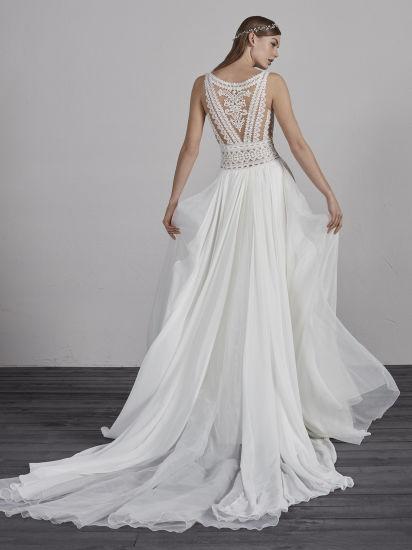 China Boho Bridal Ball Gown V Neck Lace Beach Wedding Dress W52205