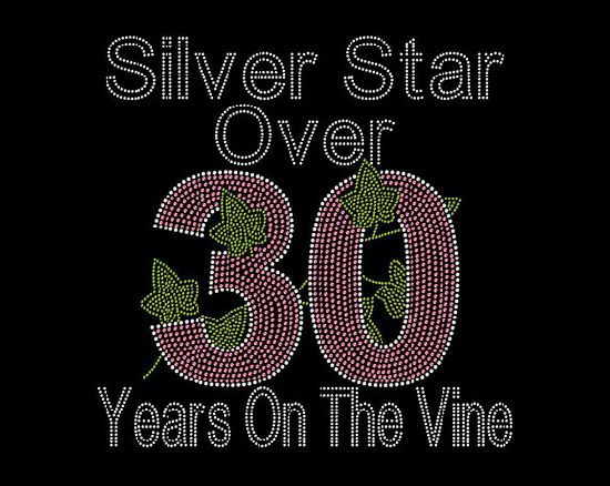 f24691948d Aka Inspired Silver Star Over 30 Years Crystallized Bling T Shirts  Rhinestone Heat Transfer