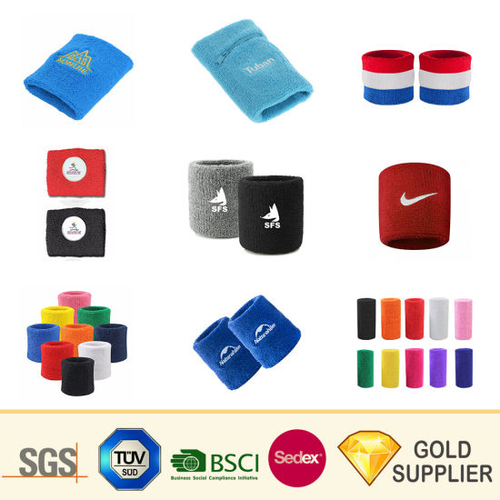 Manufacturer Custom Fashion Embroidery Logo Twill Athletic Sweat Band Design Sponge Plain Headband Terry Cloth Sport Cotton Wristband for Promotional Gift Set pictures & photos