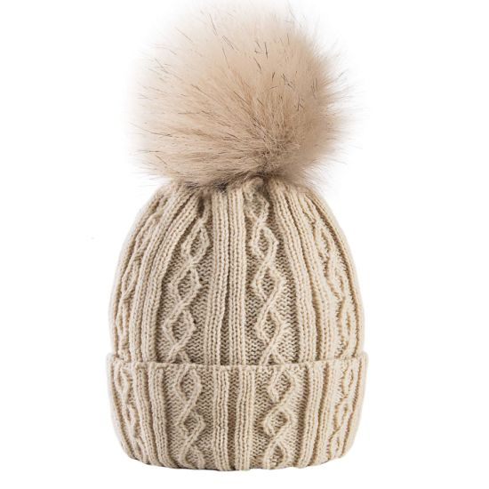 6ac70238f China Womens Cable Beanie Winter Warm Chunky Soft Hats Knit Faux Fur ...