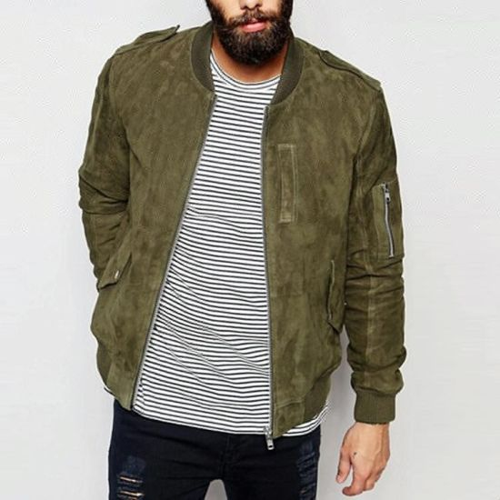 High Quality Custom Winter Oliver Suede Mens Bomber Jacket
