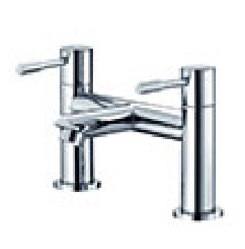 Wras Dual Handle Hot & Cold Deck Mounted Bath Faucet Tap for Bathtub
