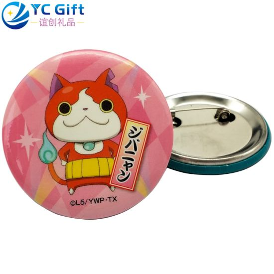 China Maker Custom Free Design Logo Paper Plastic Stamping Tinplate Emblem Cartoon Japan Kitty Tin Button Pin Cute Girl Scout Brooch Badge for Promotion Gift