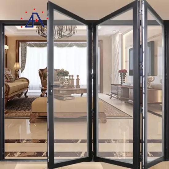Cheap Price Outdoor Waterproof Aluminium Folding Doors, Foldable Tempered Glass Door Price, Aluminium Bifold Door