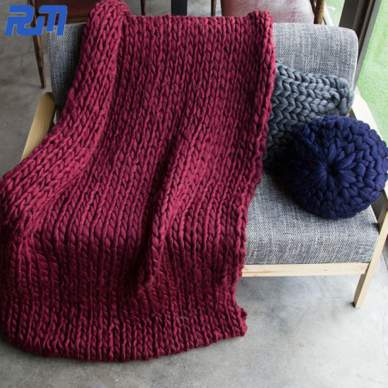 Second Hand Blanket Queen Size Wholesale Chunky Knit Wool Blanket Mink Throw Blanket