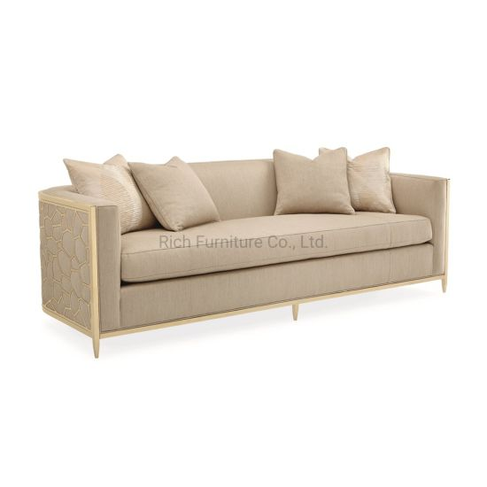 Chinese Home Furniture Wholesale Fabric Sofa Metal Frame Hotel Sofa Couch with Armrest 3 Seater