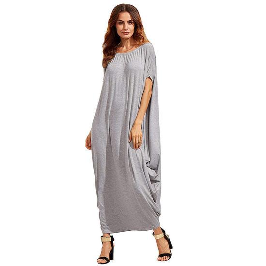 Women Fashion Romantic Daily Dress One Shoulder Long Sleeve Bat Sleeve Bohemian Dress