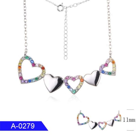Wholesale New Fashion Popular Jewelry Sterling Silver Multicolor Cubic Zirconia Stone Heart Necklace
