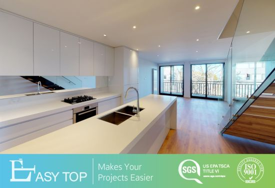 Easy Top Project Australia High Gloss White Kitchen Cabinets Joinery with Pure White Quartz Benchtop for Module House Project