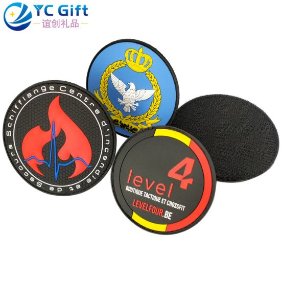 Customized School Uniform Badge Malaysia Military Tactical Gear Garment Label Tag Kuwait Fashion 3D Clothing Label Souvenir PVC Rubber Police Patch with Velcro