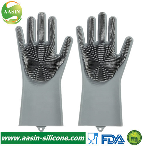 Magic Multi-Function Silicone Rubber Cleaning Hand Kitchen Gloves with Wash Scrubber