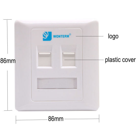 China White Ethernet 2 Port Keystone Faceplate CAT6 Wall Plate with ...
