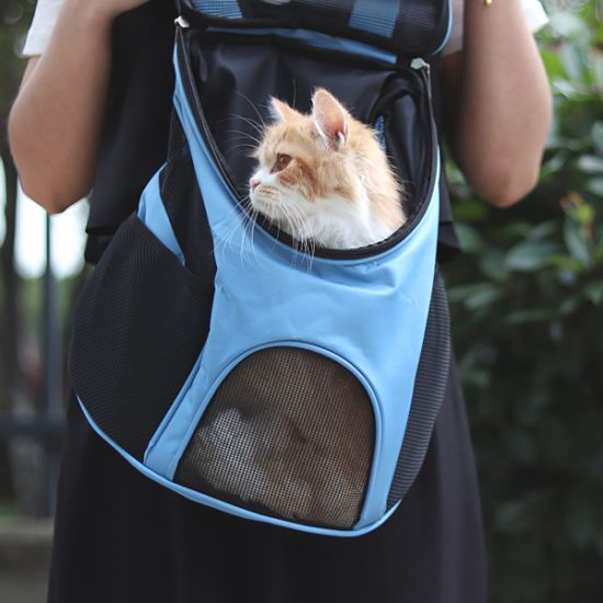 Wholesale Manufacturer Blue Breathable Portable Travel Pet Carrier Cat Bag