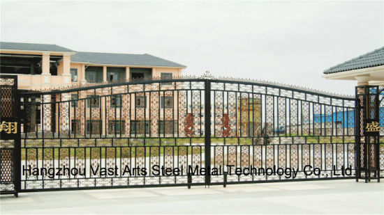 Haohan High-Quality Exterior Security Decorative Wrought Iron Fence Gate 18 pictures & photos