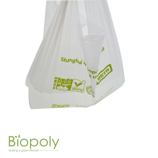 Biodegradable Plastic Vest Bags Corn Starch PLA Compostable Shopping Handle  Bag