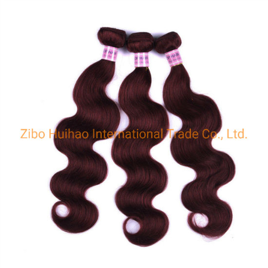 9A Natural Human Hair 99j Color Body Wave Human Hair Weft