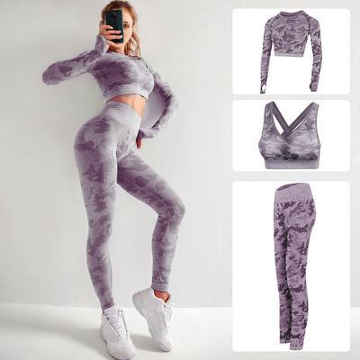 3 Piece Yoga Suit Women Sport Bra Leggings Gym Set Fitness Sportswear Workout Suit