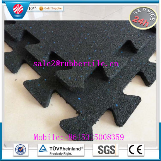 Wearing-Resistance Interlocking Playground Rubber Floor Tile / Gym Floor Mat pictures & photos