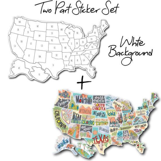 Us States Map Travel Tracker Trailer Accessories Sticker Set