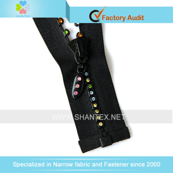 No. 3 Colorful Rhinestone Zipper Open End pictures & photos