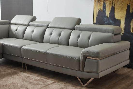Leather Sofa Fabric and Leather Sectional Combination Sofas Living Room  Sofa Corner Apartment Furniture Set Modern L Shaped Sofa Set