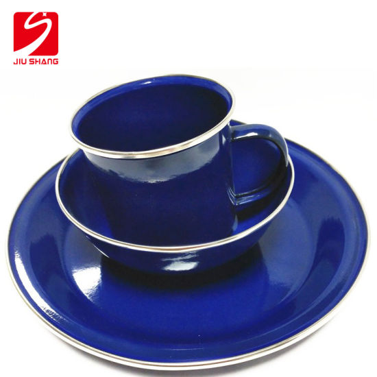 Vintage Luxury Customized Color Enamal Tablewares Cups and Dishes for Dinner