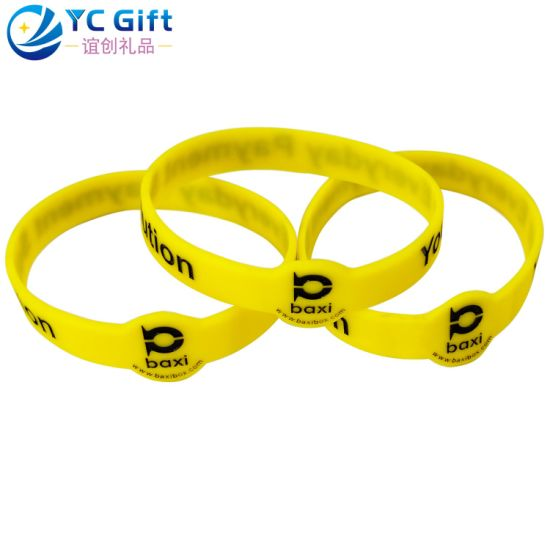 Wholesale Custom Pure Color Sunken Silicone Silicon Tyvek Wristband Elastic Energy Bracelet Fashion Promotional Products Rubber Band for Promotion Item