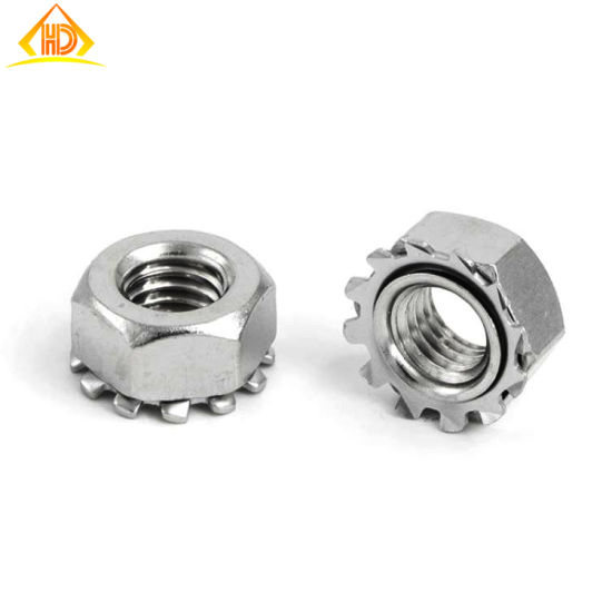 20 Pieces M6 Toothed Flange Hexagonal Safety Nuts 316 Stainless Steel