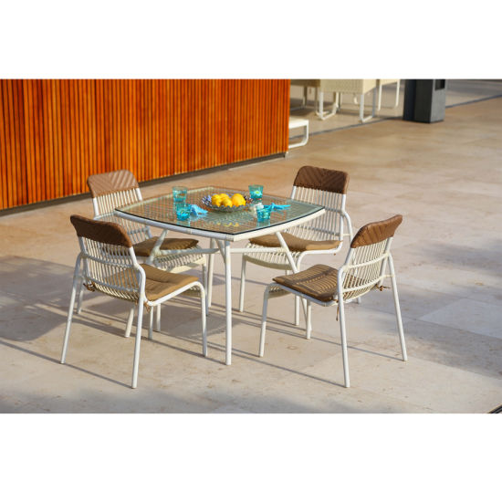Myx Outdoor Rattan Simple Design Modern Metal Dining Chair (accept customized)