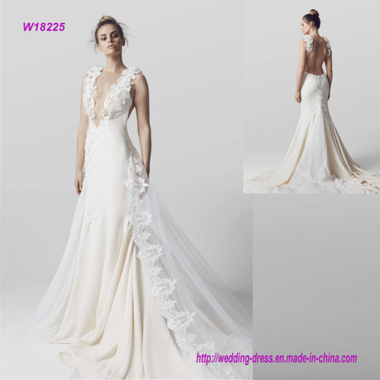 China New Modern Style Deep V Neck Low Back Wedding Dress - China ...