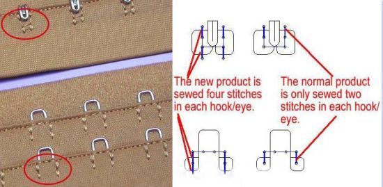 Bra Accessories 4-Stitch Hook and Eye Tape pictures & photos