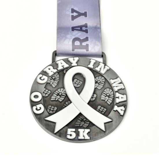 Enamel Gold Sliver Brass Finisher Metal Custom Medal